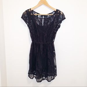 Hollister Dark Navy Lace overlay any occasion dres